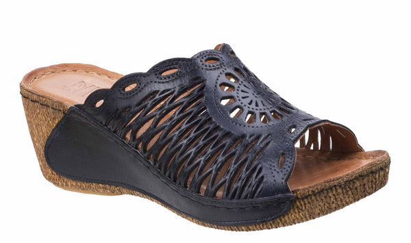Riva Reggio Womens Lattice Detail Wedge Heeled Mule Sandal Navy