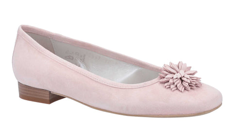 Riva Sa Riera Womens Suede Leather Slip On Ballerina With Flower Trim