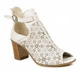 Riva Sanremo Womens High Cut Block Heeled Dress Sandal Off White