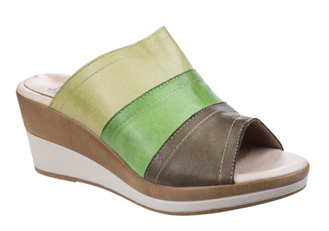 Riva Santo Womens Multicoloured Wedge Heeled Mule Sandal Green