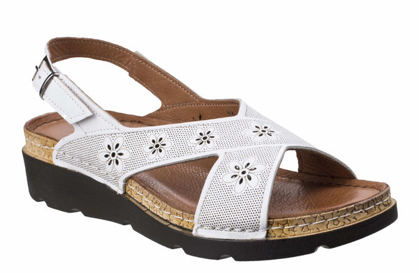 Riva Serafina Womens Slingback Wedge Heeled Casual Sandal White