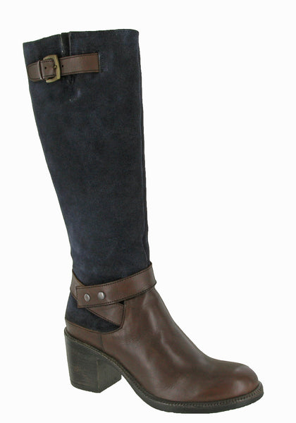 Riva Serina Womens Leather And Suede Long Dress Boot Brown L/Navy S