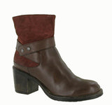 Riva Siena Womens Leather And Suede Dress Ankle Boot Brown/Bordo