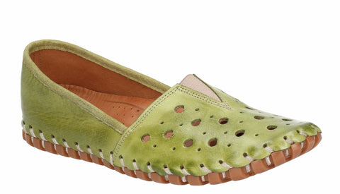 Riva Tahiti Womens Leather Punched Detail Slip On Casual Shoe