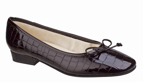 Riva Valeria Womens Patent Croc Print Slip On Ballerina Pump Brown Croc