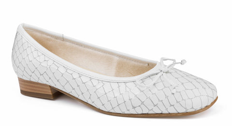 Riva Varese Ladies Patent Croc Print Slip On Ballerina Pump