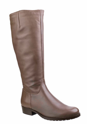 Riva Vicenza Womens Classic Long Leg Leather Dress Boot Taupe