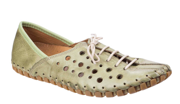 Riva Zeta Womens Punched Detail Leather Lace Up Casual Shoe Green