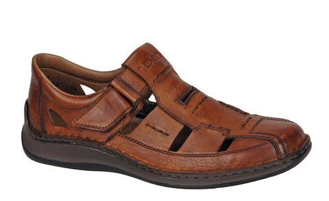 Rieker 05284 Mens Wide Fit Touch Fastening Fisherman Style Sandal 24 Amaretto