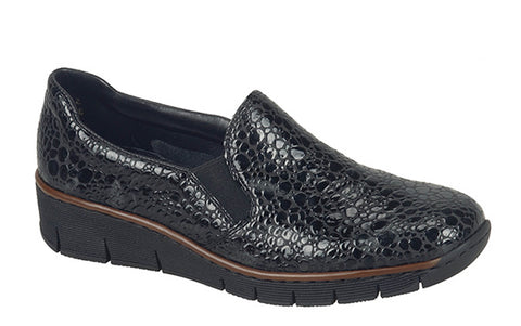 Rieker 53766-45 Womens Slip On Casual Shoe 45 Black Croc