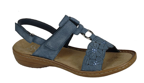 Rieker 60843 Womens Touch Fastening Slingback Casual Sandal 14 Jeans
