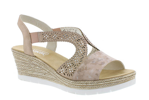 Rieker 61916 Womens Wedge Heeled Slip On Slingback Sandal