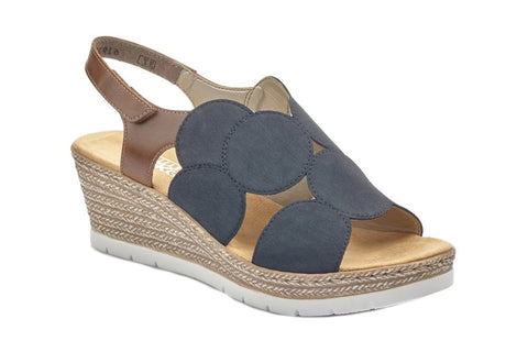 Rieker 61919 Womens Wedge Slip On Sandal