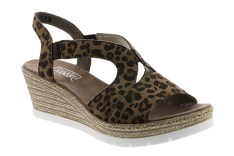 Rieker 61929 Womens Wedge Slip On Sandal