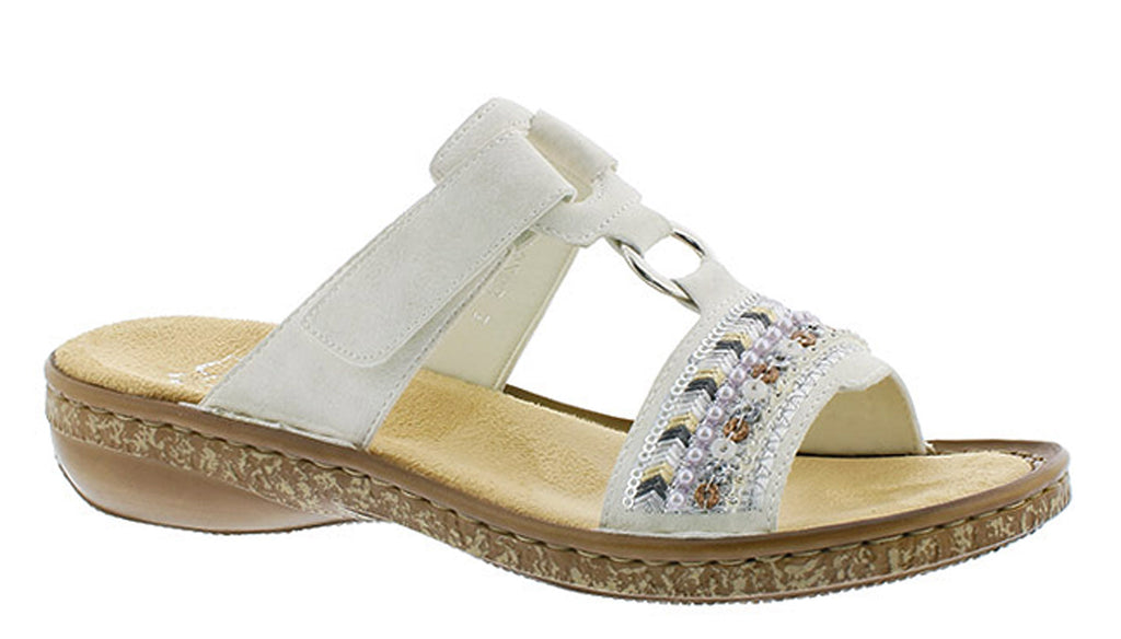 Touch Sandal Sequin Womens With Rieker Mule 628m6 Fastening Detailing Decorative 0nwOPk