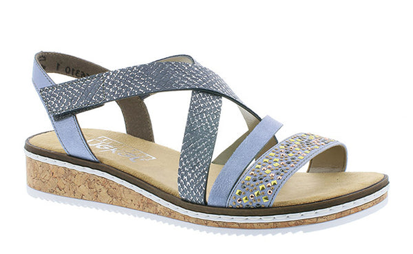 Rieker V3663 Womens Wedge Heeled Touch Fastening Summer Sandal
