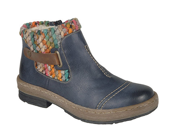 Rieker Z6784 Womens Warm Lined Zip Up Ankle Boot With Knitted Cuff 14 Ocean/Knit