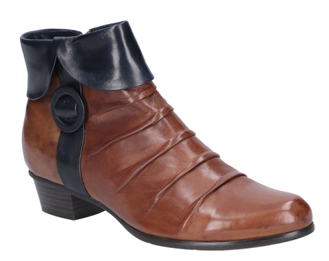 Regarde Le Ciel Stefany 130 Womens Ruche Detail Leather Ankle Boot