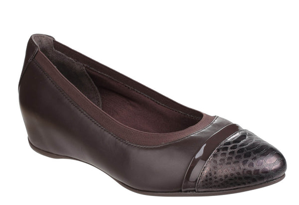 Rockport Total Motion Evangaline V81053 Womens Gore Cap Toe Wedge Shoe Dk Granite V81053