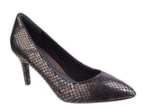 Rockport Total Motion Pointed Toe Pump V82793 Womens Dress Shoe Blk Met Snake V82793