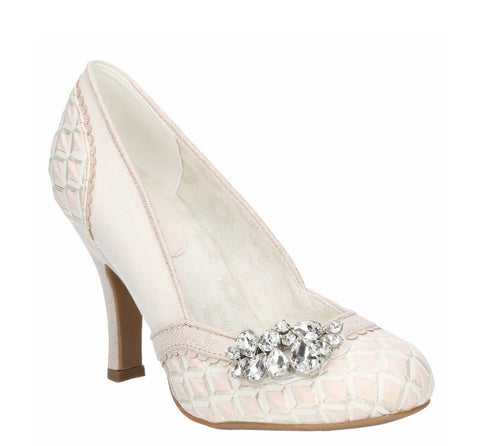Ruby Shoo Fabia Jewel Trimmed Occasion Slip On Court Shoe Light Pink