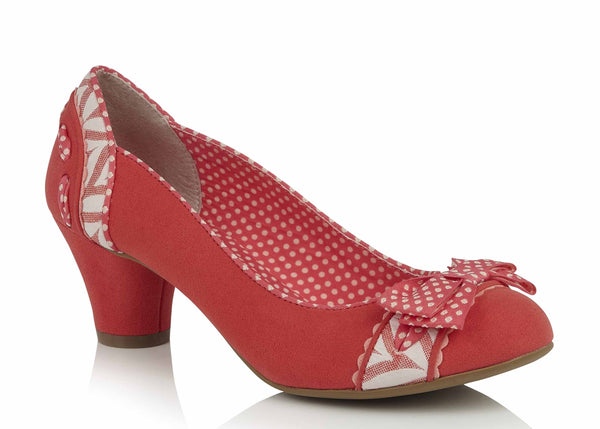 Ruby Shoo Hayley Low Heeled Slip On Court Shoe Coral