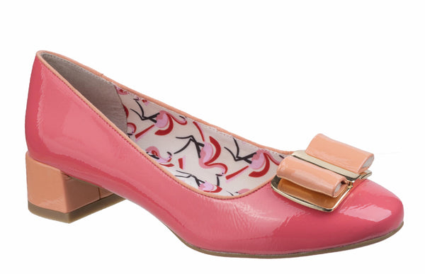 Ruby Shoo June 09194 Womens Patent Dress Court Shoe With Bow Trim Coral