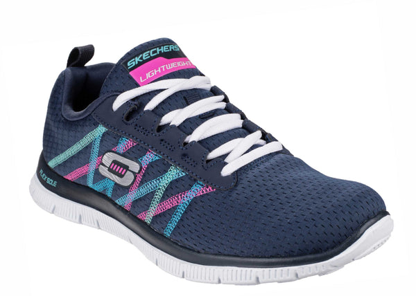 Skechers SK11885 Flex Appeal - Something Fun Womens Lace Up Trainer Navy Multi