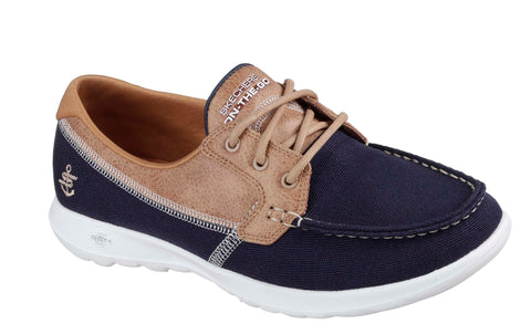 Skechers SK15430 Go Walk Lite Coral Womens Lace Up Boat Shoe Navy/Tan NVY