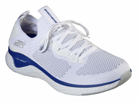 Skechers Solar Fuse-Valedge Slip On Jogger Trainer with Lace White/Blue