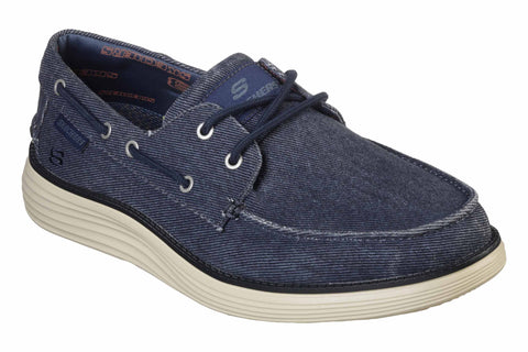 Skechers Status 2.0 Lorano Moc Toe Canvas Lace Up Shoe Navy
