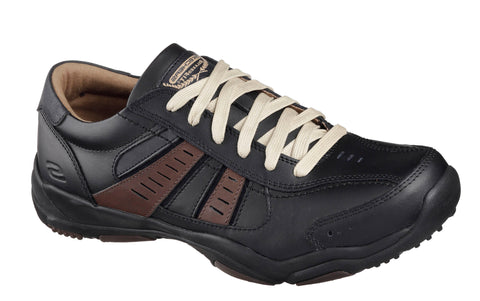 Skechers SK64833 Relaxed Fit: Larson Nerick Mens Lace Up Shoe Black/Tan BKTN