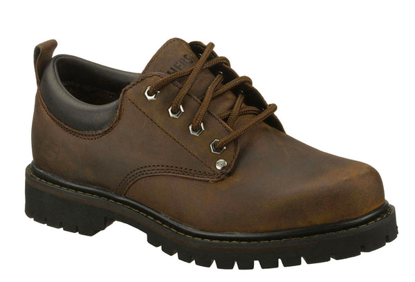 Skechers SK6618 Tom Cats Mens Plain Toe Lace Up Shoe Brown CDB