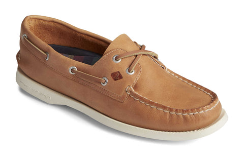 Sperry A/O 2-Eye Splash Leather Slip On Shoes Tan