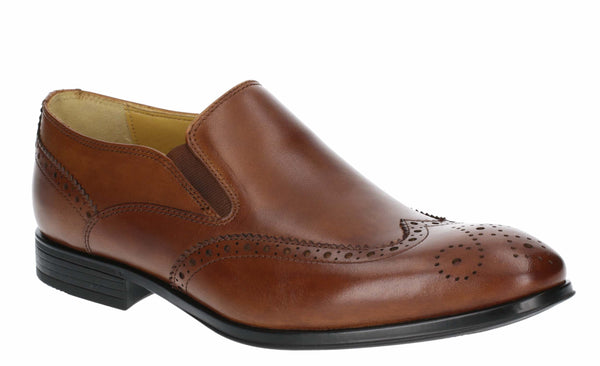 Steptronic Felix Mens Wide Fit Brogue Detail Slip On City Shoe