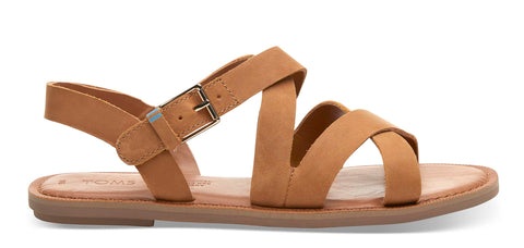 Toms Leather Sicily Womens Sandals Tan