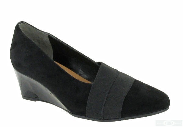 Van Dal Candor Womens Wide Fit Wedge Heeled Suede Dress Shoe 130 Black S