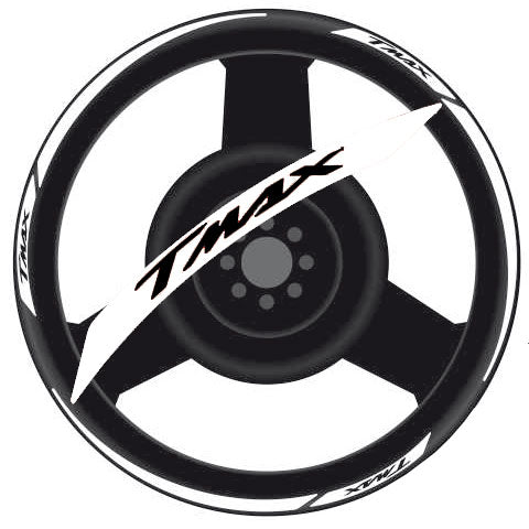 Yamaha T-MAX Rim Stripes Kit - Black Letters