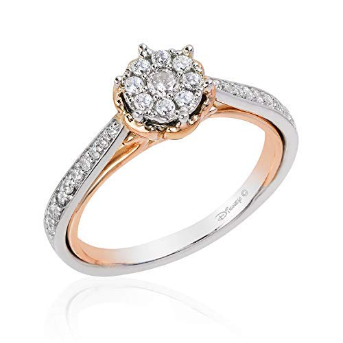 Jewelili Enchanted Disney Fine Jewelry 14K White Gold and Rose Gold 1/3Cttw Belle Rose Composite Bridal Ring