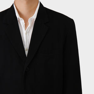 Y's Black Wool Gabardine Jacket