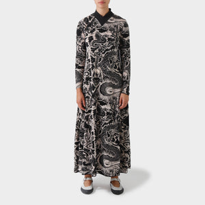 Jean Paul Gaultier Maille Tattoo Print Longsleeve Dress