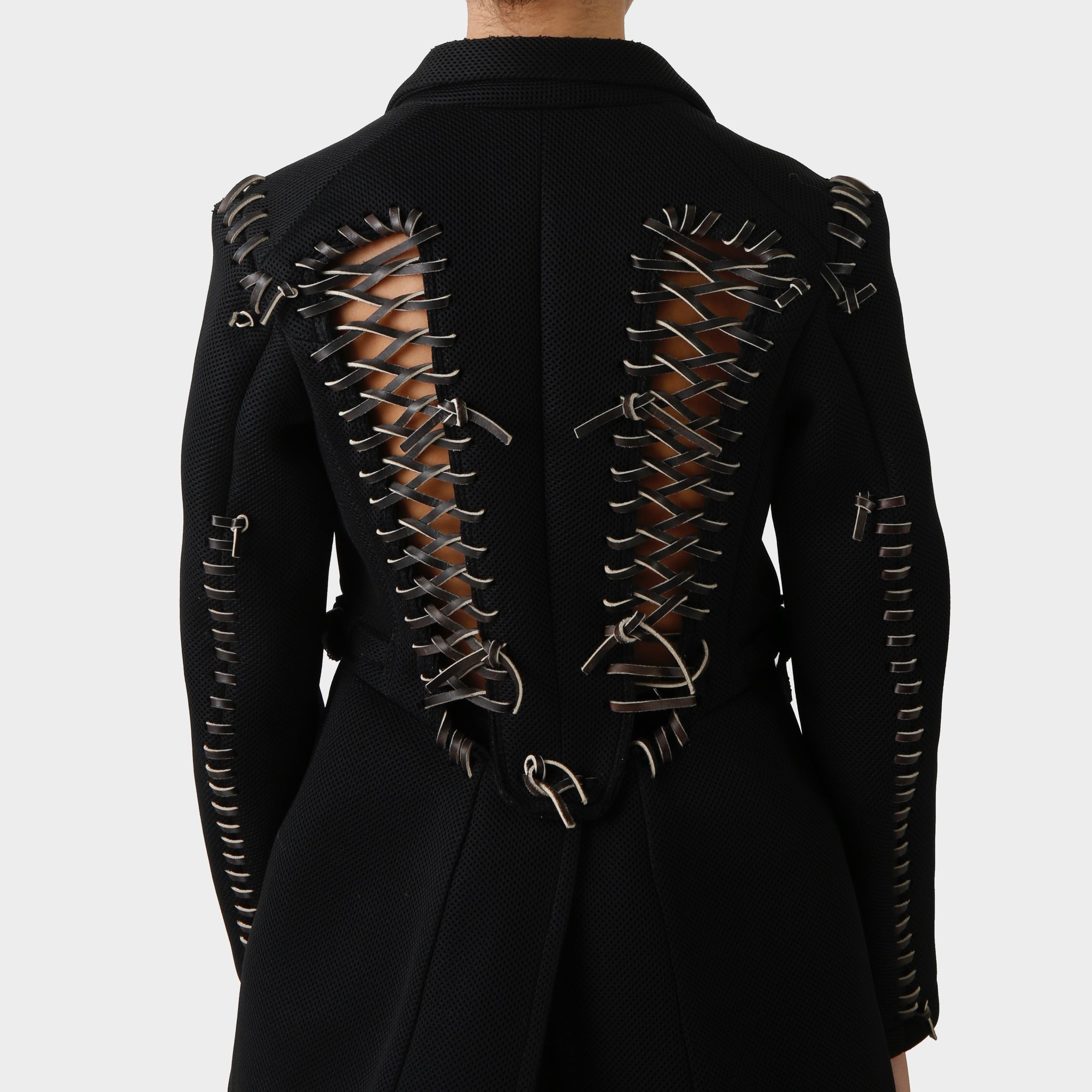 Comme des Garçons Mesh Leather Laced Tail Coat