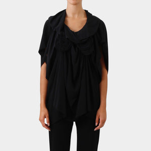 Bernard Wilhelm Black Draped Collar Top