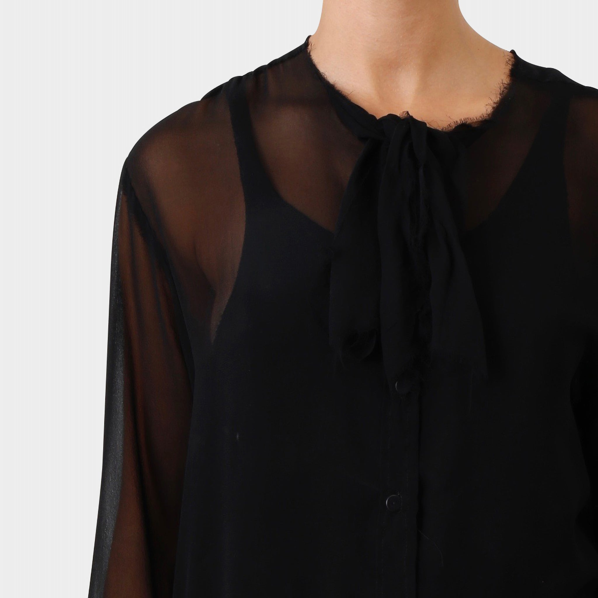 Elena Dawson Raw Edged Silk Tie-up Shirt