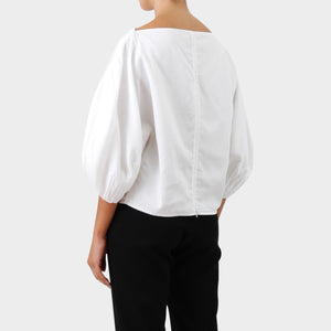 Céline Bateau Neck Bishop Sleeve Top.