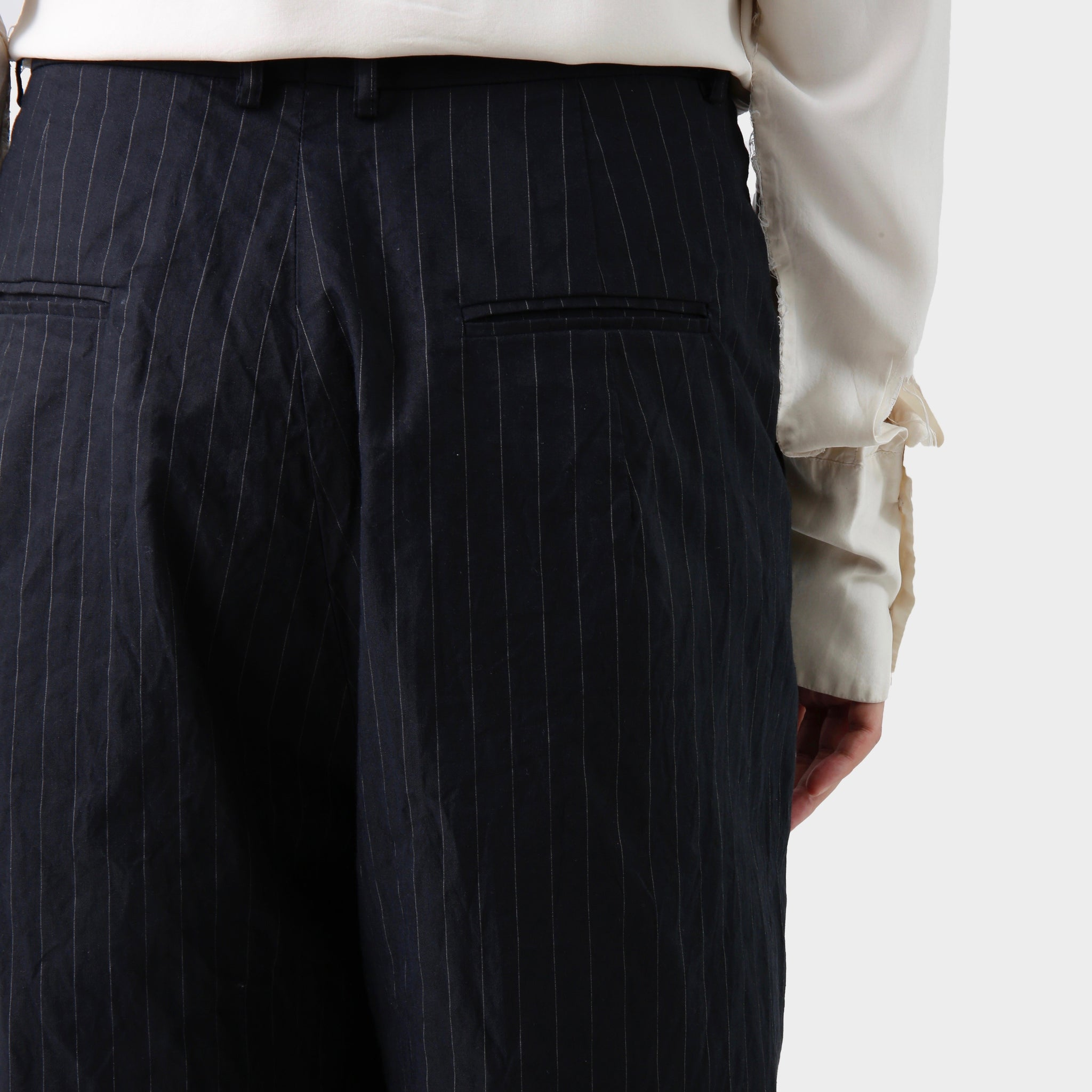 Geoffrey B. Small Navy Pinstriped Wide Pants