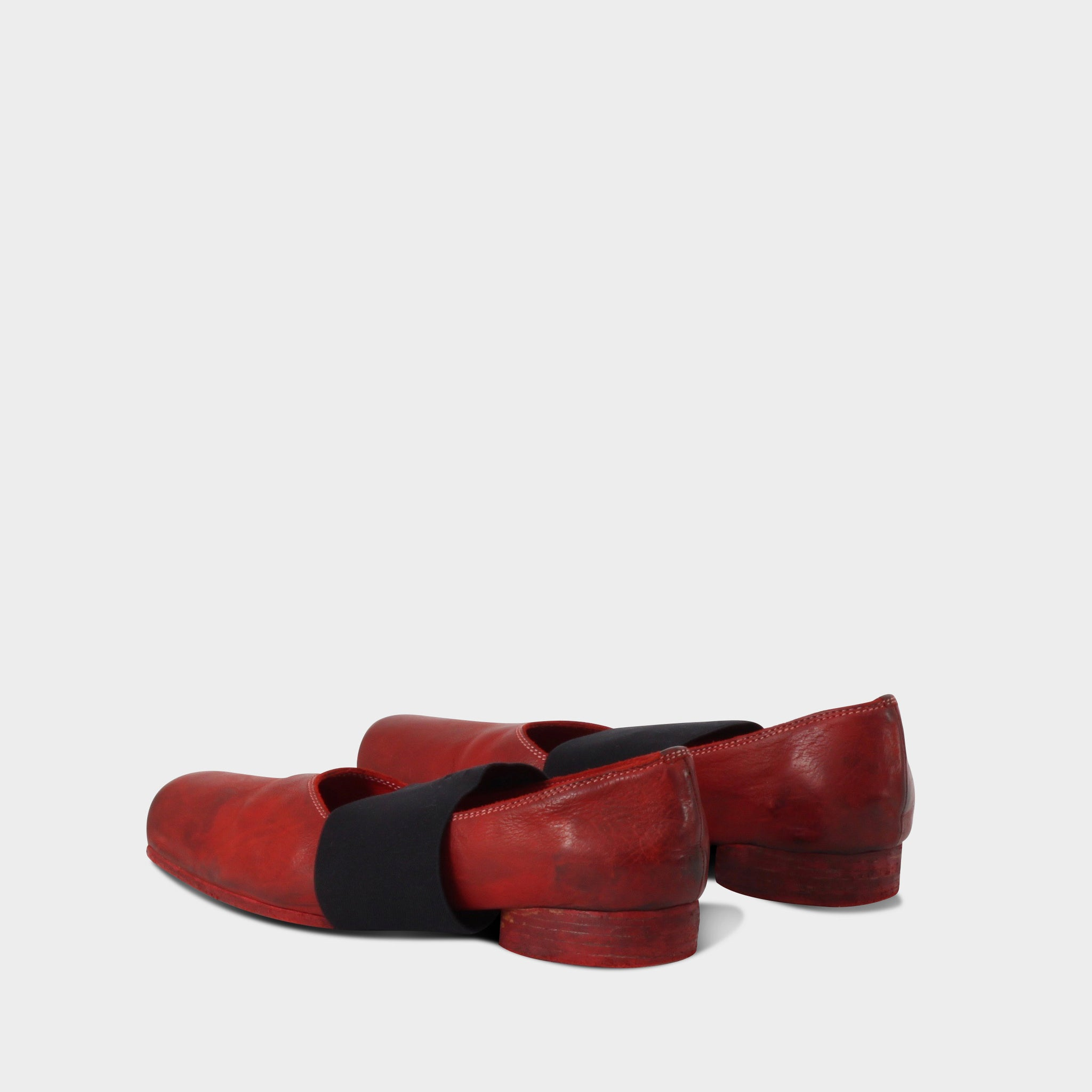Uma Wang Red Leather Square Toe Ballerinas