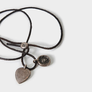 Werkstatt München Leather Necklace with Guitar pick and Lion head pendant