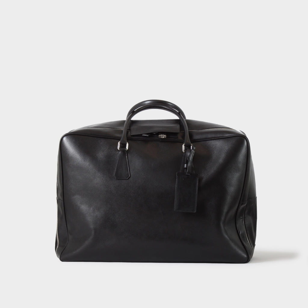 Prada Saffiano Black Leather Suitcase