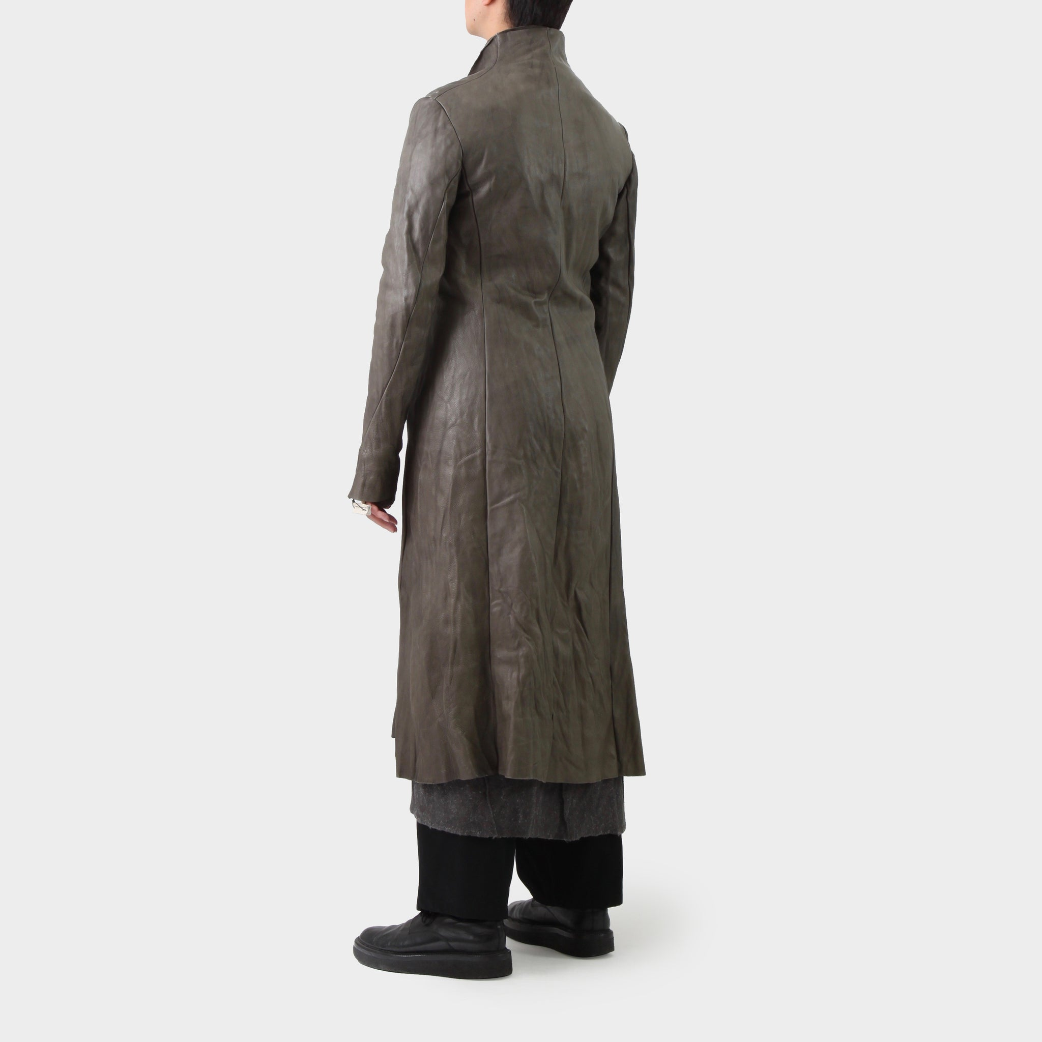 MA+ Carbon Leather Long Coat.   Washed cow leather, Contrast Wool Lining, Sterling Silver Hook Closure and Cross Insignia at cuff.